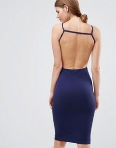 Платье миди с открытой спиной Oh My Love - Темно-синий