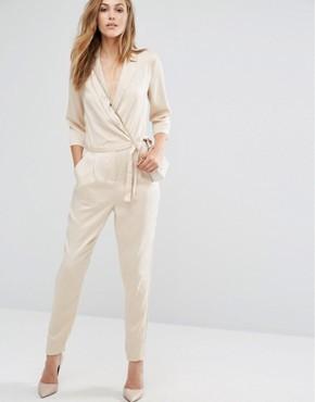Комбинезон в пижамном стиле с запахом Vila - Серебряный