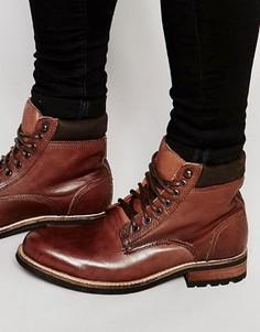 Коричневые кожаные рабочие ботинки Bellfield - Коричневый