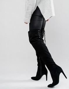 Замшевые сапоги-ботфорты на каблуке с завязками сзади Faith Solo Fierce - Черный
