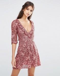 Кружевное платье мини с оборкой For Love and Lemons Theodora - Черный