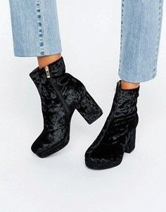 Бархатные ботинки на среднем каблуке и платформе Truffle - Черный