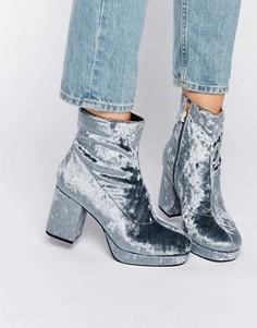 Бархатные ботинки на среднем каблуке и платформе Truffle - Серый