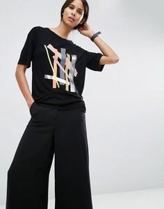 Свободная футболка с принтом в стиле колор блок ASOS TALL - Мульти
