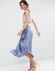 Плиссированная атласная юбка миди ASOS - Золотой