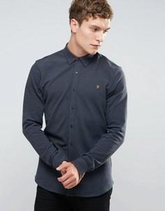 Серая узкая рубашка на пуговицах из ткани пике Farah - Серый