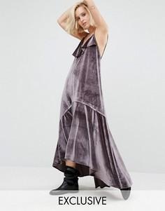 Бархатное платье макси с рюшами Religion - Серый