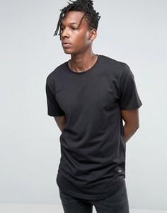 Удлиненная футболка с асимметричным краем Only & Sons - Черный
