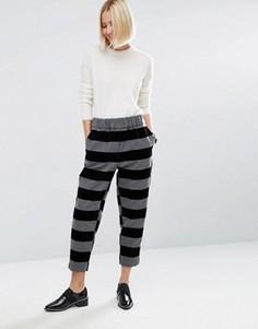 Бархатные брюки в полоску с поясом на резинке ASOS WHITE - Мульти