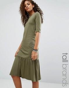 Платье с оборкой по краю Noisy May Tall Melanie - Зеленый