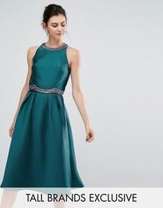 Короткое приталенное платье 2-в-1 с декоративной отделкой Little Mistress Tall - Зеленый