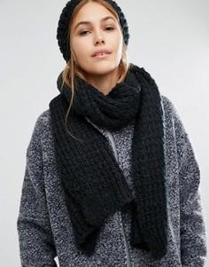 Вязаный шарф и шапка-бини Pieces - Черный