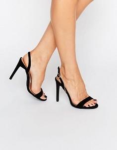 Сандалии на каблуке с ремешком через пятку Boohoo - Черный
