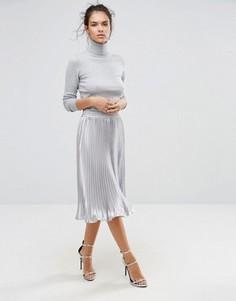 Плиссированная атласная юбка миди Boohoo - Серебряный