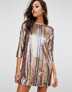 Цельнокройное платье в полоску с пайетками Boohoo - Мульти