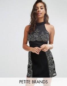 Платье-трапеция с кружевом Boohoo Petite - Черный