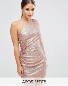 Платье мини на одно плечо с переливающимися пайетками ASOS PETITE - Золотой