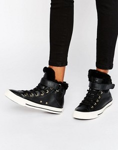 Высокие черные кроссовки на подкладке из искусственного меха Chuck Taylor Brea - Черный Converse