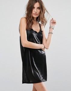 Платье-комбинация цвета металлик Motel - Черный