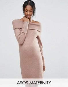 Платье-джемпер для беременных с открытыми плечами ASOS - Коричневый