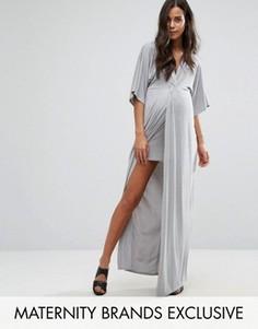 Платье макси для беременных с узелком спереди Missguided Maternity - Серый
