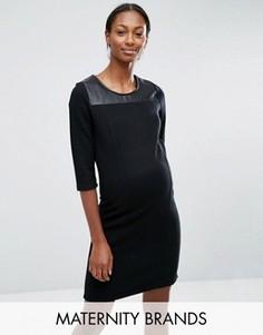 Трикотажное платье для беременных с кожаной вставкой Mamalicious - Черный Mama.Licious