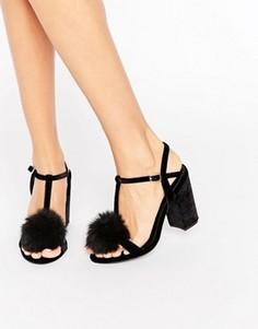 Босоножки на блочном каблуке с помпоном Office Sugar - Черный