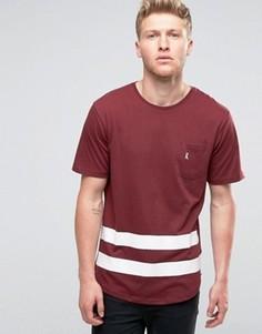 Бейсбольная футболка с карманом и закругленным низом Ringspun - Красный