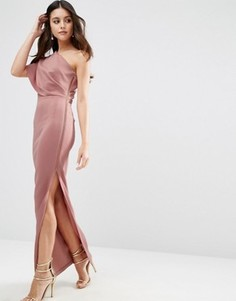 Платье макси на одно плечо с открытой молнией ASOS - Розовый