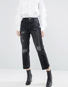 Черные прямые джинсы с деконструированным дизайном ASOS - Черный