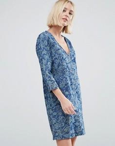 Джинсовое платье с цветочным принтом Pepe Jeans Ines - Синий