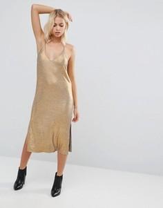 Платье миди на тонких бретельках Vila - Золотой