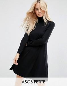 Свободное платье с воротником поло и длинными рукавами ASOS PETITE - Черный