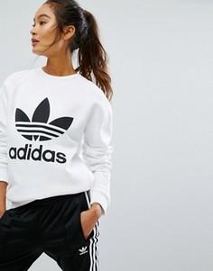 Oversize-свитшот с логотипом-трилистником adidas Originals - Белый