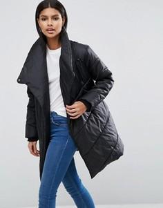 Дутая куртка с каскадной драпировкой спереди ASOS - Черный