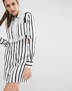 Шелковое цельнокройное платье Kendall + Kylie Peek-a-boo - Мульти