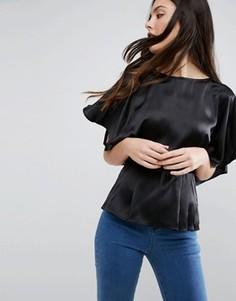 Атласная блузка с рукавами-кимоно ASOS - Черный