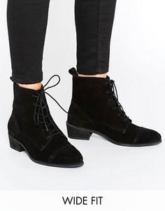 Ботинки из искусственной замши со шнуровкой ASOS AURORA - Черный