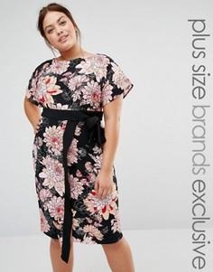 Платье с запахом и цветочным принтом Closet Plus - Мульти