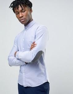 Оксфордская рубашка узкого кроя с длинными рукавами и нашивками на локтях Celio - Синий