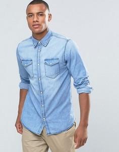 Джинсовая рубашка на кнопках с двумя карманами Jack & Jones Originals - Черный