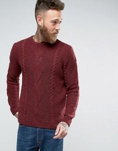 Джемпер с добавлением шерсти с вязкой косичкой ASOS - Красный