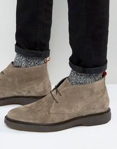 Серые замшевые ботинки чукка на танкетке ASOS - Серый