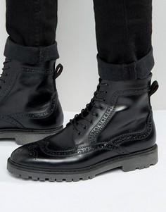 Черные кожаные ботинки-броги ASOS - Черный