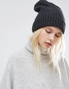 Серая вязаная шапка-бини Pieces - Серый