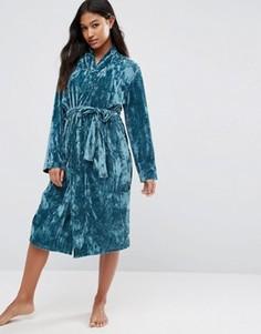 Бархатный халат миди ASOS - Зеленый