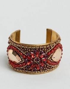 Браслет-манжета с отделкой камнями ASOS - Красный