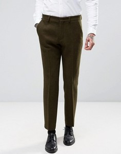 Строгие брюки слим из 100% шерстяного твида ASOS - Зеленый