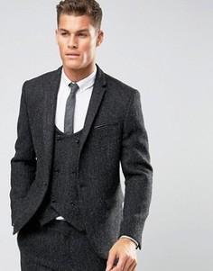 Серый пиджак узкого кроя из 100% шерстяного твида Харрис с узором в елочку ASOS - Серый
