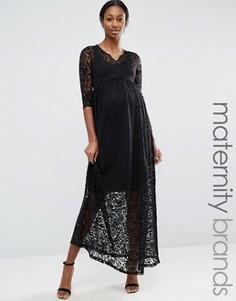 Кружевное платье макси для беременных Mamalicious Maternity - Черный Mama.Licious